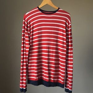 Men's lightweight sweater - red stripe - large